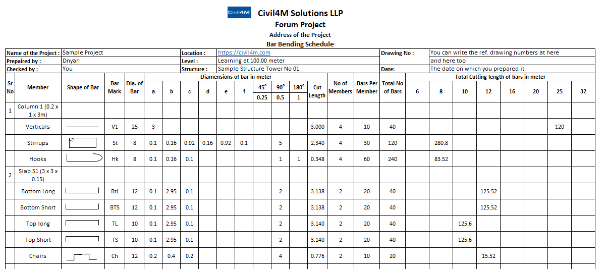 How to Prepare Bar Bending Schedule and its Usage with Excel sheet
