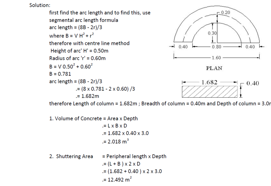 How to calculate steel and concrete quantity for dome