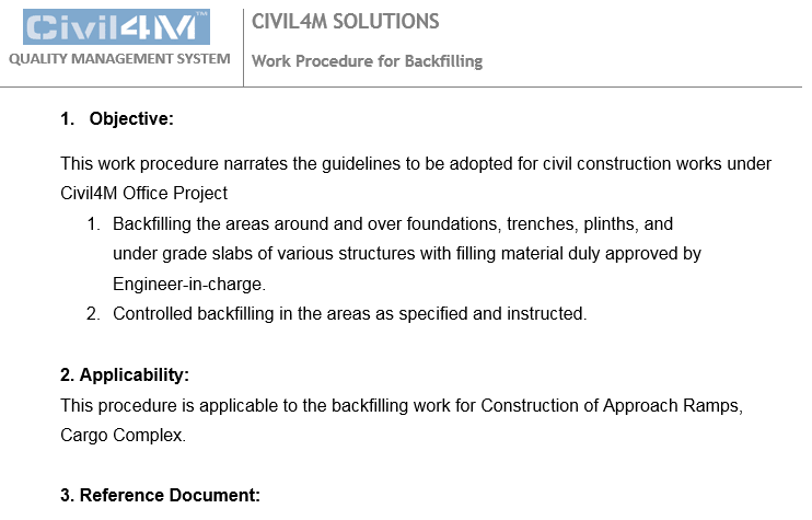 Work Procedure for Backfilling - Civil4M