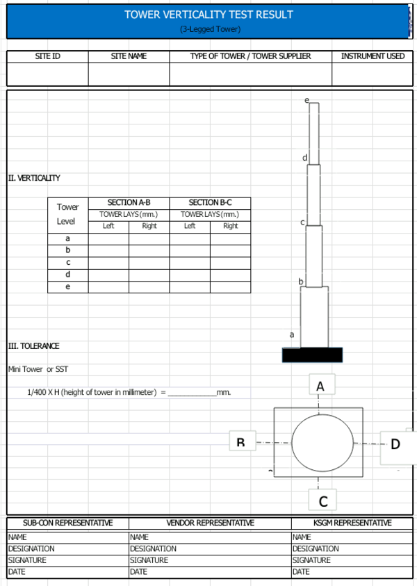 How to check verticality and deviation of monopole tower
